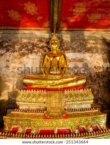 beautiful gold buddha statue in Wat Suthat. Temple in Bangkok, Thailand. - stock photo