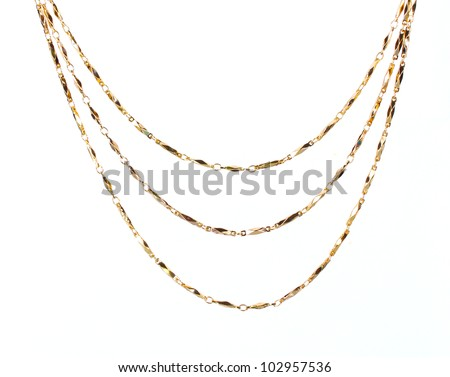 beautiful gold chain isolated on white
