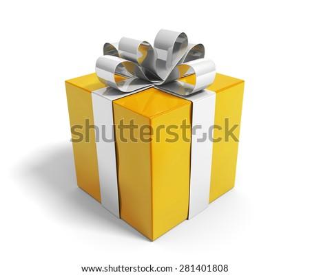 Beautiful gold gift box reward with a shiny silver ribbon - stock photo