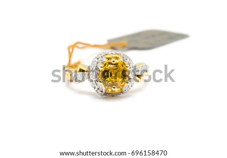 Beautiful Gold Ring Diamond Yellow Sapphire Stock