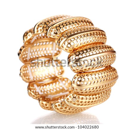 Beautiful golden bracelet isolated on white - stock photo