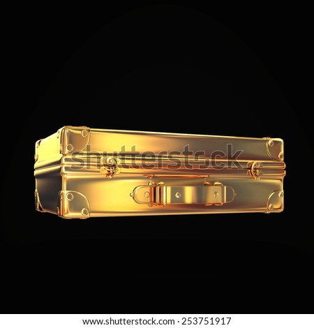 Beautiful golden briefcase representing  business on black background. Hi gh resolution.