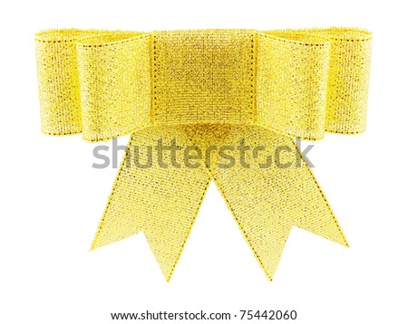 Beautiful golden brocade gift bow, isolated on white