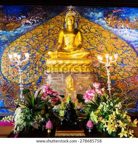 Beautiful golden Buddha in thailand - stock photo