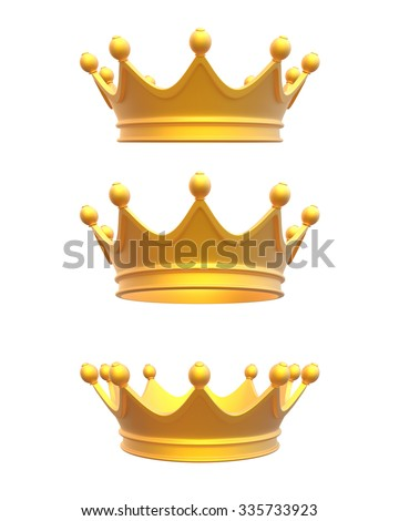 Beautiful golden crown in three different positions for different usage on white background