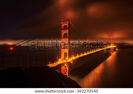 Beautiful Golden Gate Bridge, San Francisco at night, USA - stock photo