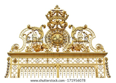 Beautiful golden gates of Versailles  near Paris  palace detailed fence on white - Golden fence of Versailles isolated on white background - stock photo
