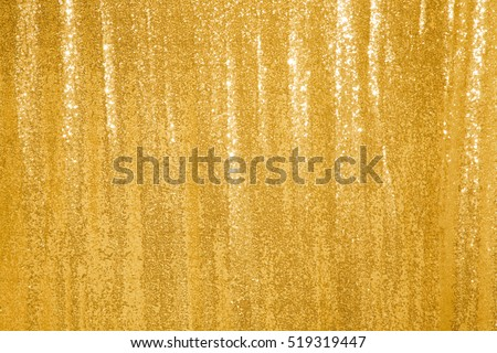 Beautiful Golden Glitter Background Texture Holiday With Sequins Copyspace Curtain