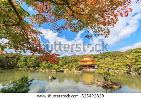Beautiful golden pavilion Kinkakuji temple in autumn season, Kyoto, Japan