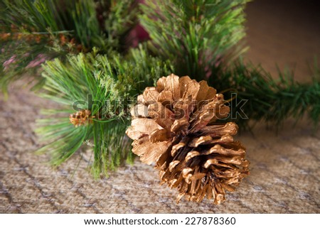 Beautiful golden pine cone. Christmas time. New year. Christmas spirit. Winter spirit. Christmas decorations. Evergreen decoration. Lights. Christmas lights.  - stock photo