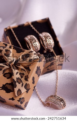 Beautiful golden ring on background - stock photo
