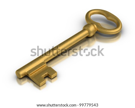 Beautiful golden skeleton key