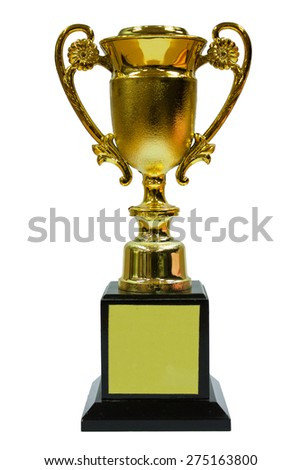 Beautiful Golden Trophy With Base - stock photo