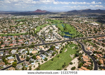Beautiful golf course near Red Mountain in east Mesa, Arizona - stock photo