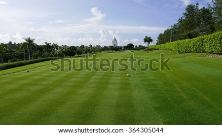 Beautiful golf course with a vivid green fairway and a blue sky