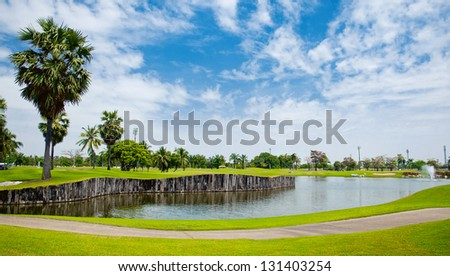 Beautiful golf course with the lake the luxury in Thailand,