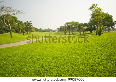 Beautiful golf place with gorgeous green - stock photo