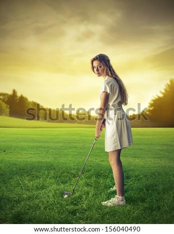 beautiful golf player - stock photo