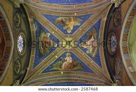 Beautiful gothic ceiling frescoes in Church of Santa Maria Sopra Minerva in Rome - stock photo