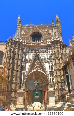 Beautiful Gothic decorations of the Cathedral of Saint Mary of the See (Seville Cathedral) in sunny day, Seville, Andalusia, Spain - stock photo