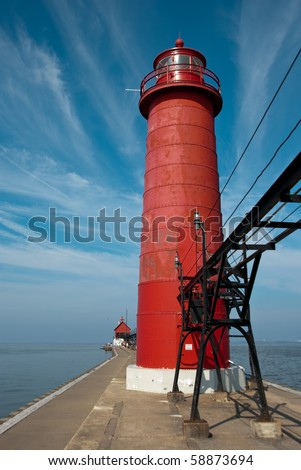 Beautiful Grand Haven Lighthouse in Michigan in Summer - stock photo