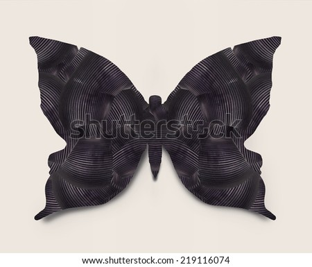 Beautiful graphic stylized black butterfly isolated  - stock photo