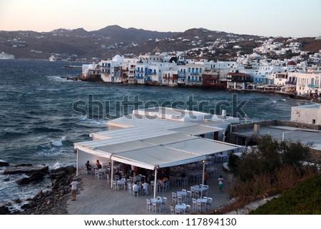 Beautiful Greek island Mykonos seaside in Greece. - stock photo