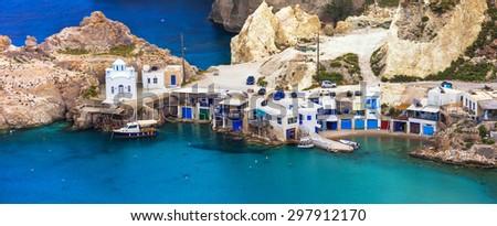 beautiful Greek islands - Milos, traditional Fyropotamos village - stock photo
