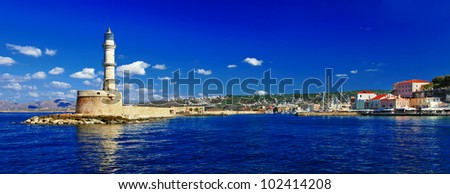 beautiful Greek islands series - Crete ,panorama with light house - stock photo