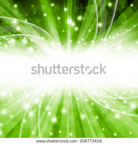 beautiful green background bokeh with stars and rays - stock photo