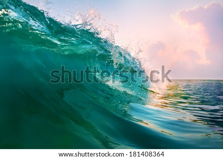 beautiful green blue breaking surfing ocean wave closing at sunset time near tropical shore - stock photo