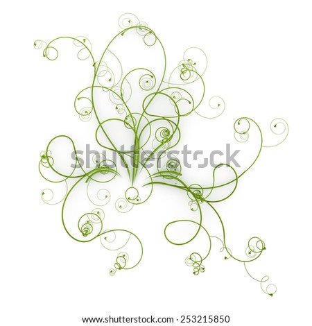 Beautiful green 3D nature lines background - stock photo
