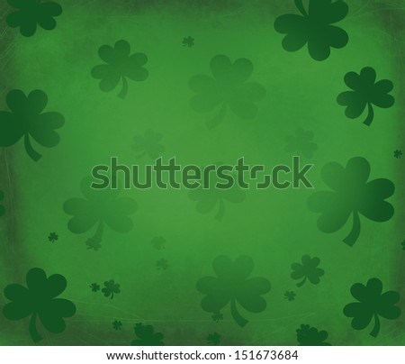 Beautiful green emerald irish grungy background for St. Patric's day with shamrocks - stock photo