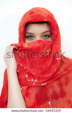 Beautiful Green Eyes Girl with red shawl