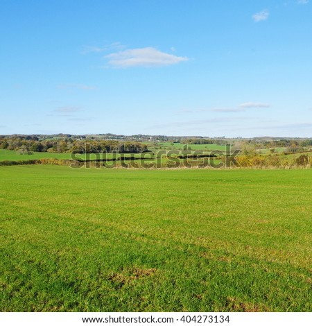 Beautiful Green Farmland Field with a Blue Sky Above - stock photo