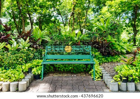 Beautiful green garden with flower and chair in park.