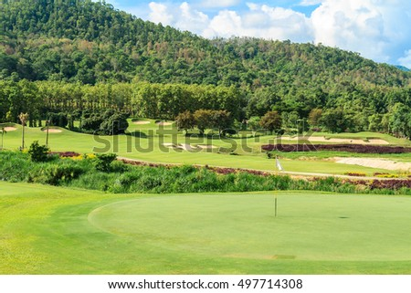 Beautiful green golf course landscape, Golfing resort at Lamphun Province, Thailand.