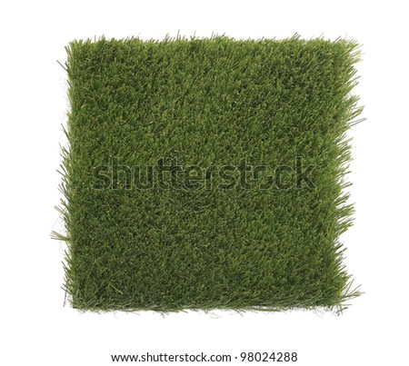 Beautiful green grass patch isolated on white background for your project - stock photo