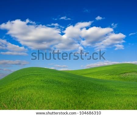beautiful green hills landscape - stock photo