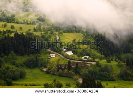 Beautiful green landscape in spring time and rural areas of north east of Turkey country, Savsat, Artvin  - stock photo