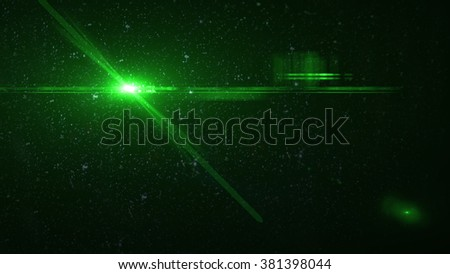beautiful green light flares in space. luminous background