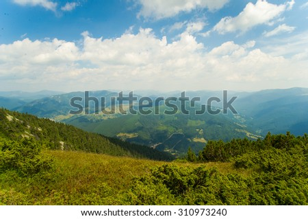 Beautiful green meadows  on Carpathian mountains in Ukraine