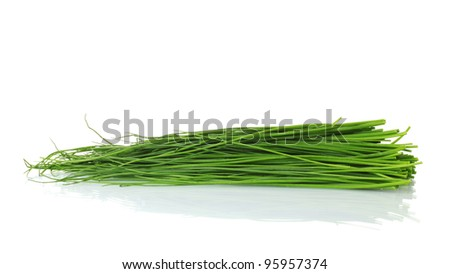 beautiful green onion chives isolated on white - stock photo