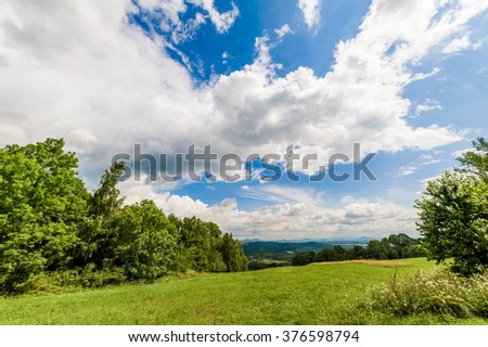 Beautiful green summer meadow with cloudy sky  - stock photo