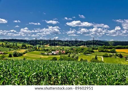 Beautiful green village scenery landscape in spring time, Zaistovec, Croatia - stock photo