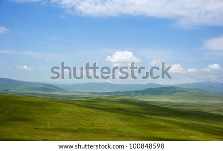 beautiful greenland view under blue sky and white cloud