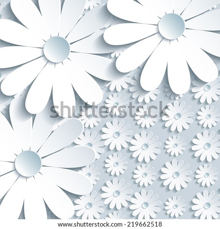 Beautiful grey background with 3d white chamomile. Trendy modern abstract background. Greeting or invitation card for life events with place for text. - stock photo