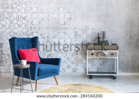 Beautiful grey wall with different home related objects - stock photo
