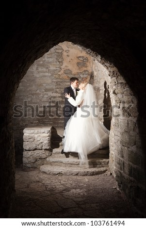 beautiful groom and the bride in stone interior of a medieval castle - stock photo