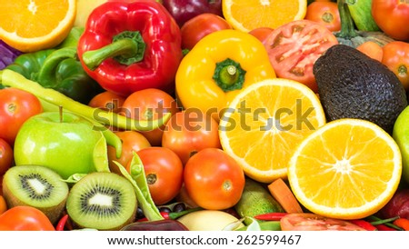 Beautiful group fruits and vegetables organics